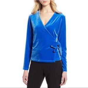 Halogen Velvet Ballet Wrap Top in Blue Victoria XL